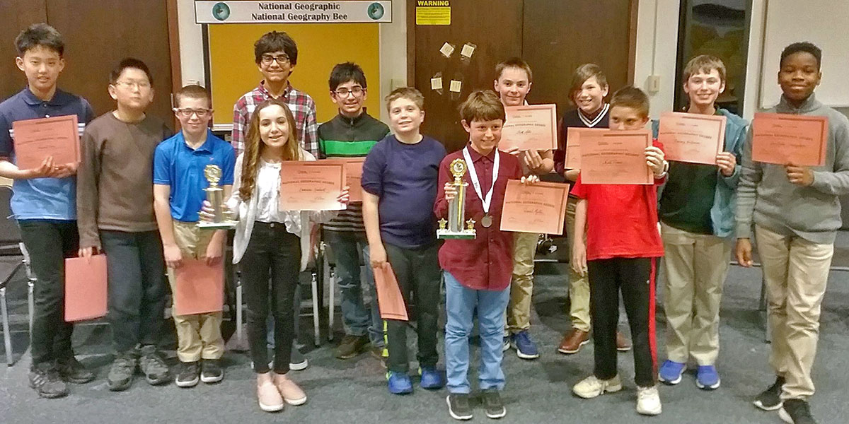 This is an image of Eagle Hill students who participated in the GeoBee