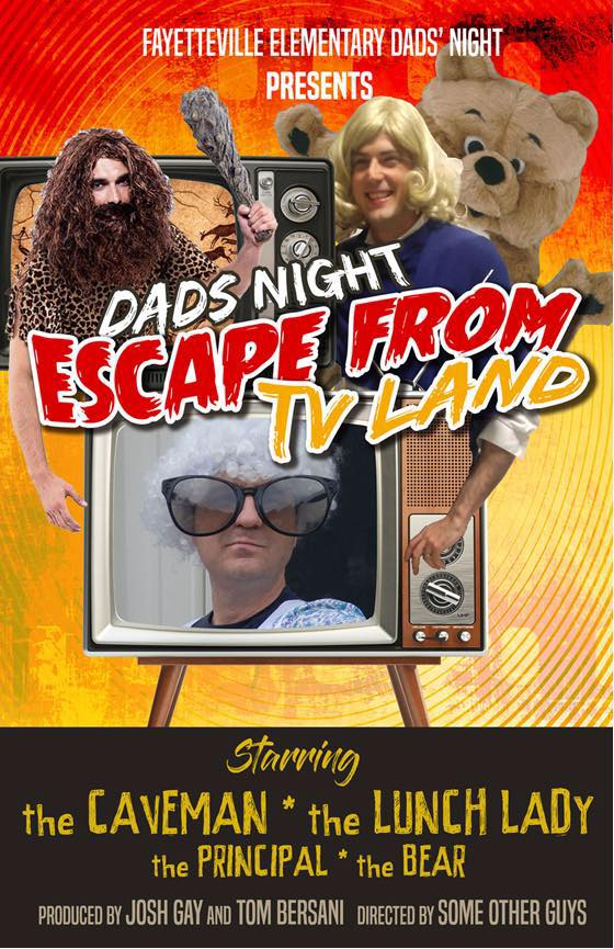 This is an image of the Dads Night poster. It includes three men wearing costumes and text