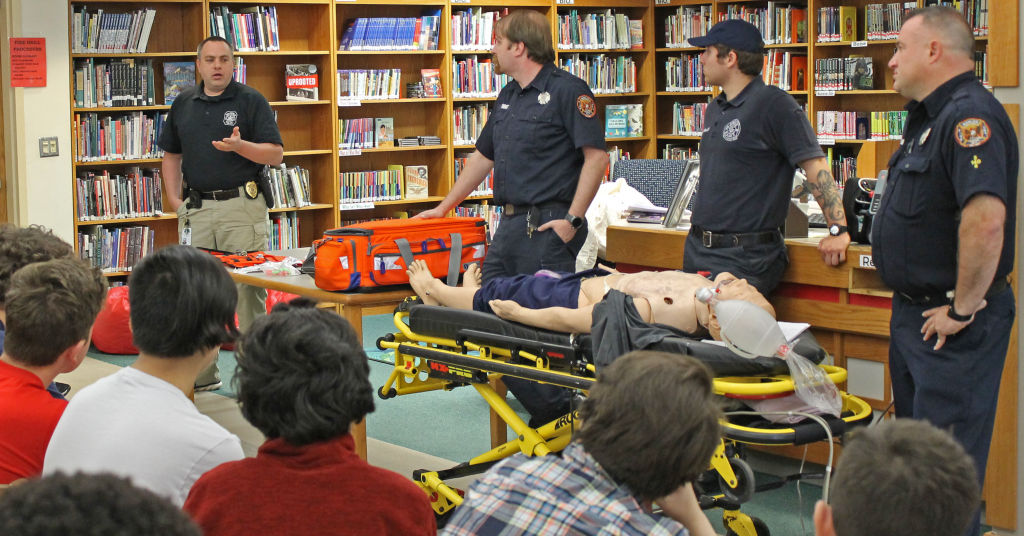 Emergency first responders talk to Wellwood students