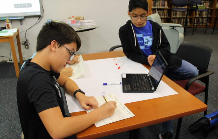 This is an image of two students working