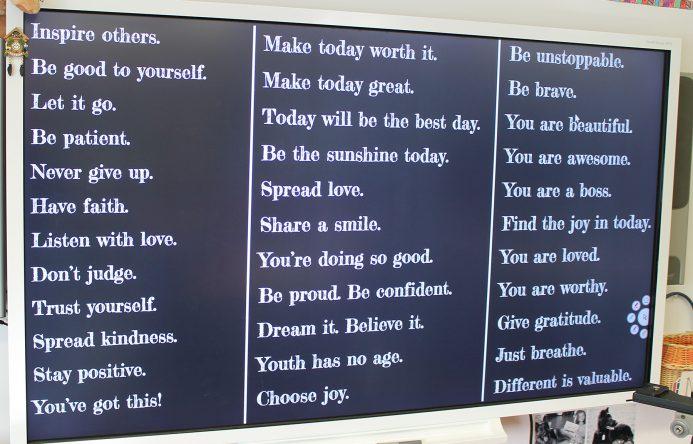 List of phrases on smartboard.
