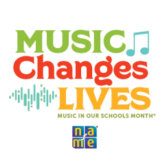 Music In Our Schools MOnth logo: Music Changes Lives.
