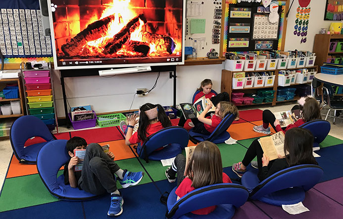 This is an image of students reading