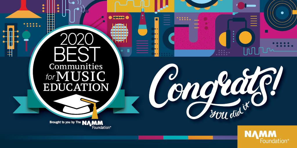 This is an image of the NAMM logo and text with a bright and colorful background