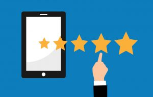 This is an image of a tablet and four stars