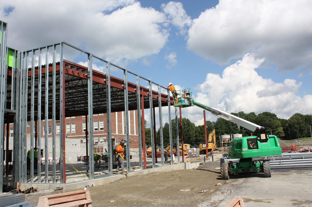Steel frame of building addition.