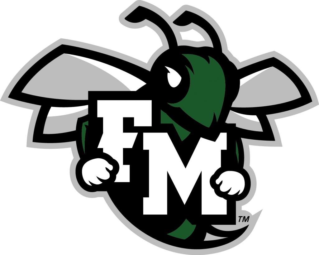 This is an image of the F-M athletics logo - a hornet holding the letters F and M.