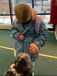 A student pets Bowie the therapy dog.