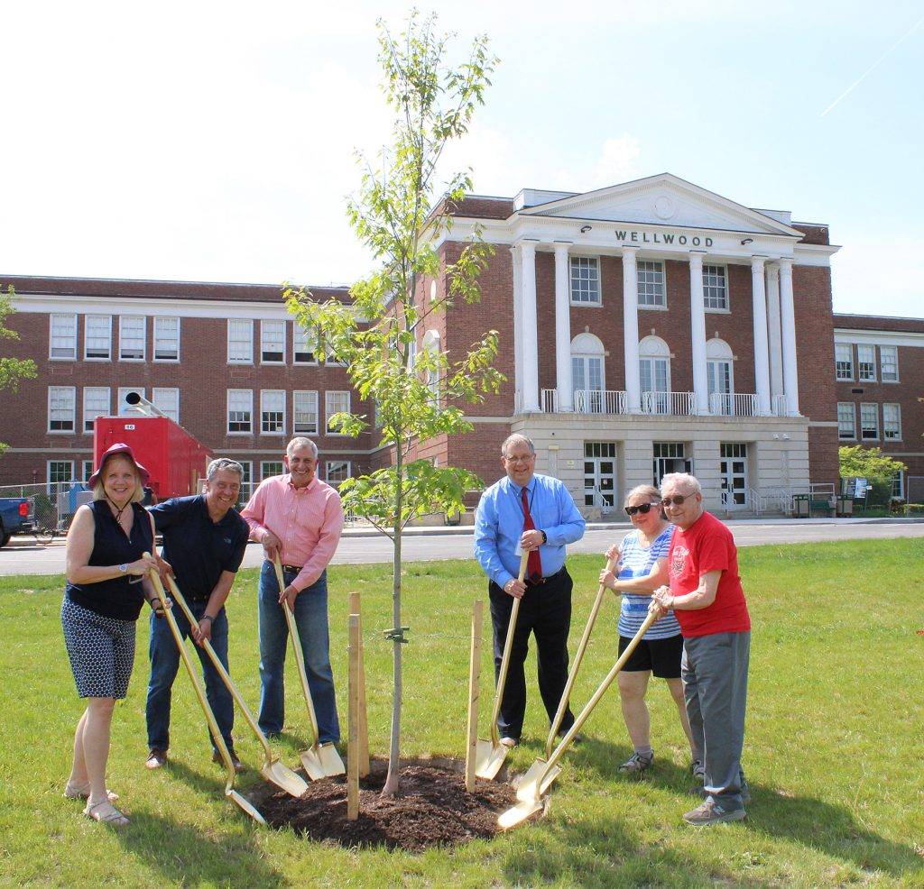 Six adults standing around a small tree with gold shovels.
