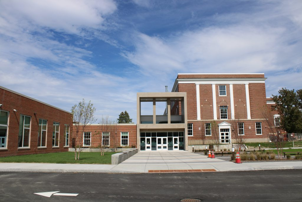 New Wellwood Middle School entrance from the exterior